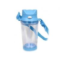 Бутылка для воды, пластиковая с ремешком, голубая, 310 мл