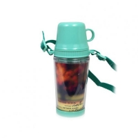 Бутылка для воды, пластиковая с ремешком, салатовая, 400 мл