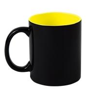 Кружка-хамелеон, чёрная, внутри желтая, 330 мл
