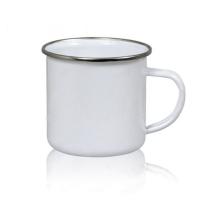 Кружка белая, металлическая,  330мл премиум