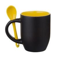 Кружка-хамелеон c ложкой, чёрная, внутри желтая, 330 мл