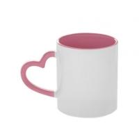 """Кружка белая, с ручкой """"сердце"""" розовая внутри"""