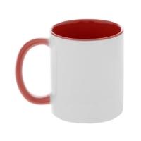 Кружка красная внутри с красной ручкой, 330 мл