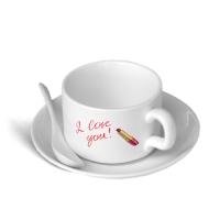 """Чашка кофейная """"Я люблю тебя"""" с блюдцем и ложечкой"""