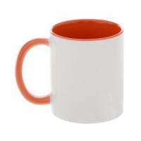 Кружка оранжевая внутри с оранжевой ручкой, 330 мл