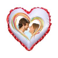 Подушка в форме сердца с красными рюшами, 38х38 см